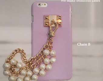 Beautiful Delightful Pastel Candy Shell Case w/ Gold Plated Wristlet Wrist Chain White Pearls Charms Tassel Studs Case For iPhone SE & 5S