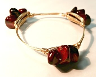 Garnet and Gold, Wire-Wrapped Bangle