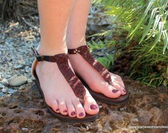 T Strap Womens Sandals In Ethnic Hand Woven Burmese Kachin Textiles Brown Vegan Flats- Sita