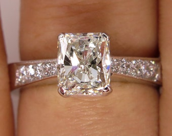 GIA 1.42ct Estate Vintage Radiant Cut Diamond Solitaire Engagement Wedding Anniversary Ring in 14k Gold