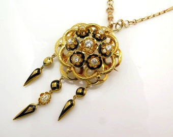 French 1850s...An ornate Victorian 1.50ct Diamond Enamel 18k Yellow Gold Fringed Pendant Brooch