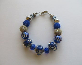 Handcrafted Beaded Navy Blue and Grey Bracelet