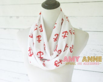 SALE Red Anchor Nautical on White Jersey Knit Infinity Scarf Scarves Amy Anne