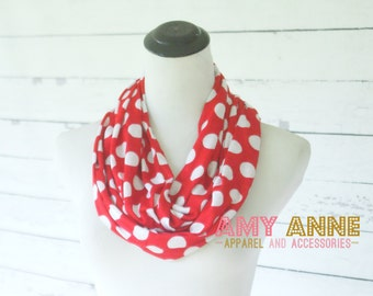 Red Polka Dot Dots Infinity Scarf Holiday Rayon Jersey Knit Gift Idea Womens Accessories