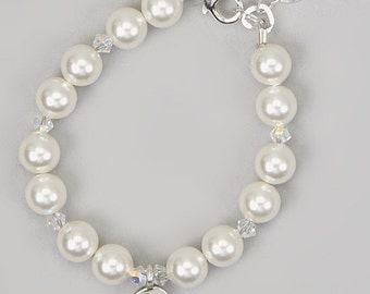 White Swarovski Pearls With Clear Crystals and Sterling Silver Script Initial Beaded Bracelet (BPSI)