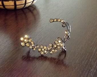 Ear Cuff, Clip Earring, Bold Floral Rhinestone Jewelry - Smoky Metallic Color