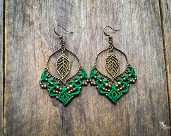 Big gypsy elven leaf micro macrame earrings bohemian boho chic jewelry by Creations Mariposa