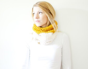 the SOLOMON cowl - knit cowl scarf chunky scarf - color block - butterscotch / fisherman