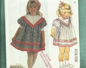 1980's McCalls 2216 Puff Sleeve & Large Collar Dress Designed by Enchanted Forest  Size 3 UNCUT