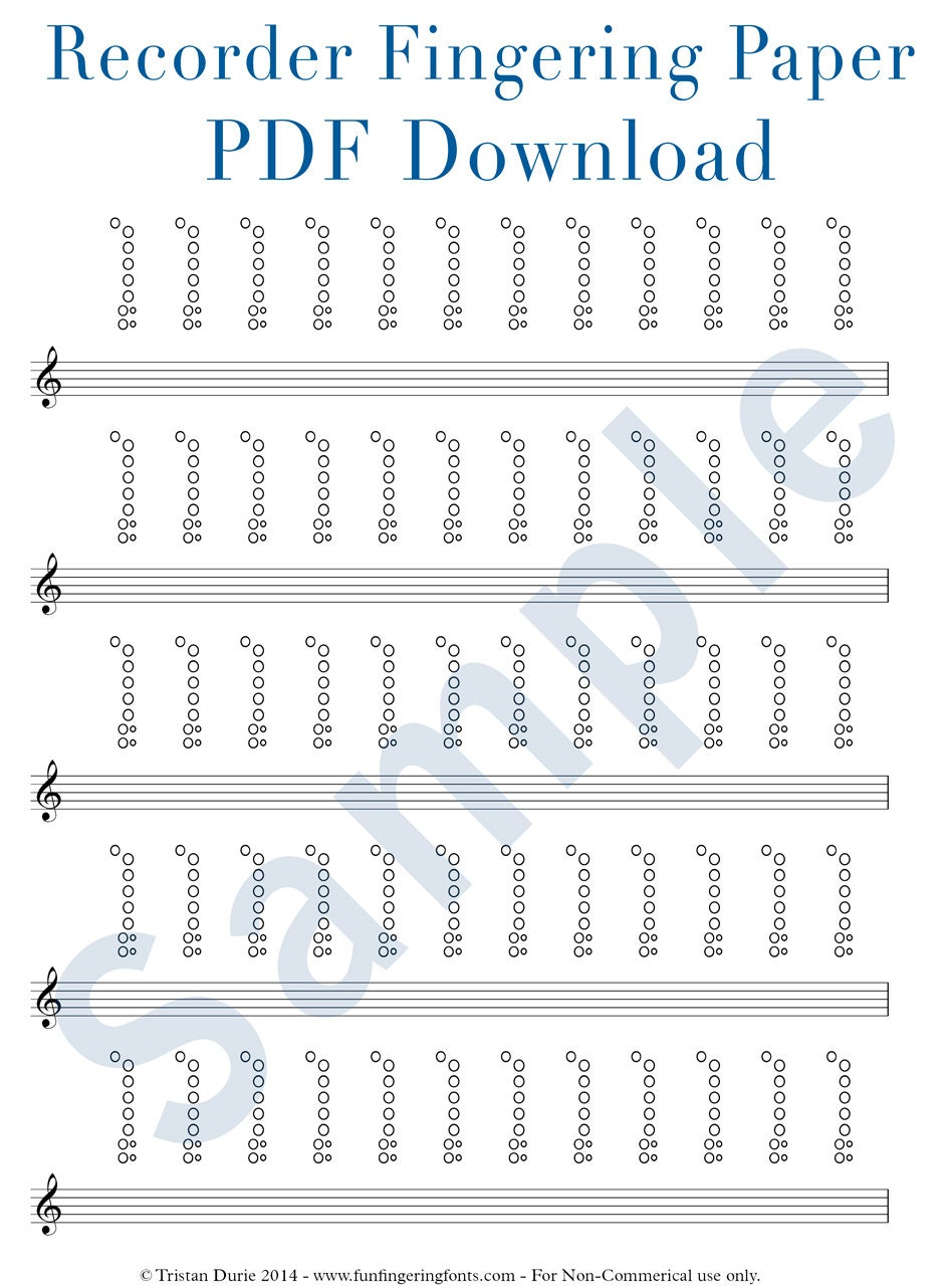 Recorder Tablature Fingering Paper Download and Printable – Recorder Finger Chart