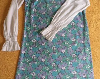 Vintage MOD 60s 1960s scooter dress lace up ruffle cool flower