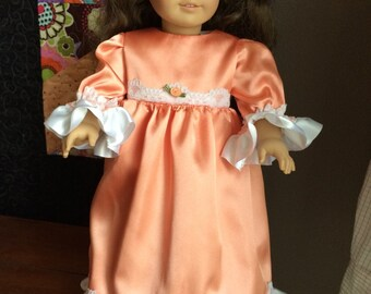 "18"" Doll Gown in peach satin"