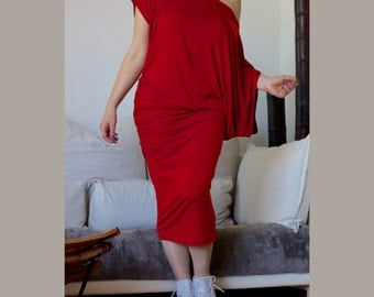 Red Midi Off Shoulder Dress / Asymmetric Loose Dress/ Plus Size Tunic/ Oversize Short Sleeves/ Italian Jersey/ Off Shoulder Bodycon Dress