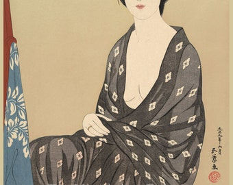 Japanese Art. Fine Art Reproduction. Woman in a Summer Garment, 1920. Hashiguchi Goyo. Fine Art Print