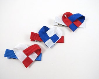 Heart Hair Clip - Ribbon Sculpture - 4th of July Hair Clip Set - Red White Blue Hair Clips - Toddler Child Teen Adult - Hair Clip Gift Set