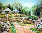 Art, print Landscape garden Floral. Roses, Reading, Family romantic, Canvas or Cotton art paper print, Laurie Shanholtzer