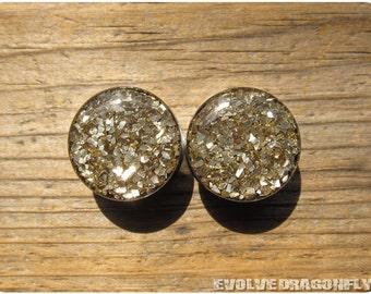 Earth Shard Glitter Plugs - 0g, 00g, 7/16, 1/2, 9/16, 5/8, 3/4, 7/8, 1 Inch