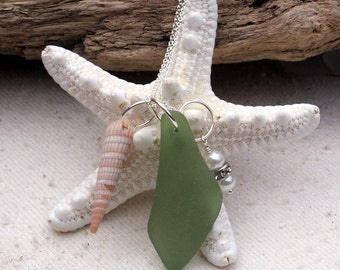 By the Sea--Green Sea Glass Charm Necklace   601