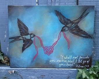 Birds Ribbon Heart Hebrews 13:5 Turquoise, Blue and Gold Sparrow Swallow