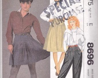 80s Yoke Skirt & Pants Pattern McCalls 8696 Size 12 Uncut