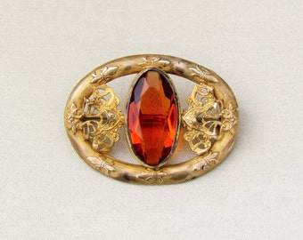 Antique sash pin, Victorian brooch with large amber stone, c.1900 filigree pin
