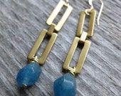brass rectangluar chain and blue quartz crystal earrings