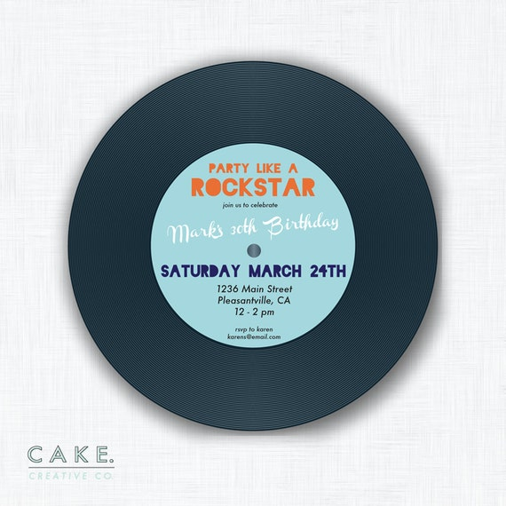 "Record Party Invitation Printable ""Party Like a Rockstar"""