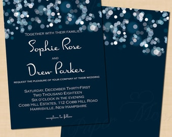 Sparkly Stars On Water Wedding Invitation (5x7, Portrait): Text-Editable, Printable, Instant Download