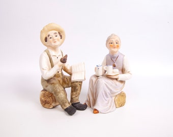 Vintage Old Man and Woman Hand Painted Porcelain Figurines Made in Japan Grandpa Grandma Lady and Man Statue