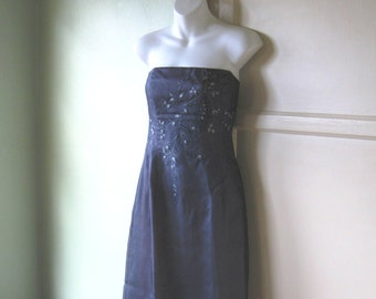 Vintage Orchid Purple Gown by Shelli Segal/Laundry - Purple Strapless Gown; XS-Small - Rhinestone Embellished Purple Prom Dress; Evening