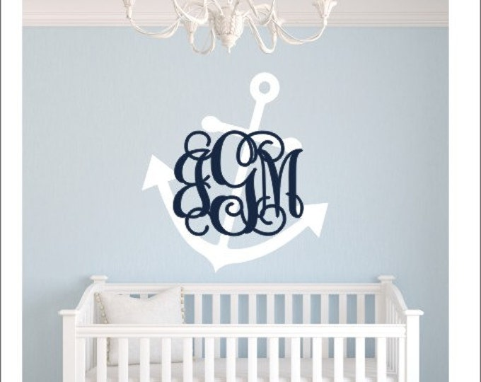 Anchor Monogram Decal Wall Decal Nursery Decal Nautical Wall Decal Beach Anchor Lake Bedroom Wall Decal Vinyl Wall Decal Nursery Monogram