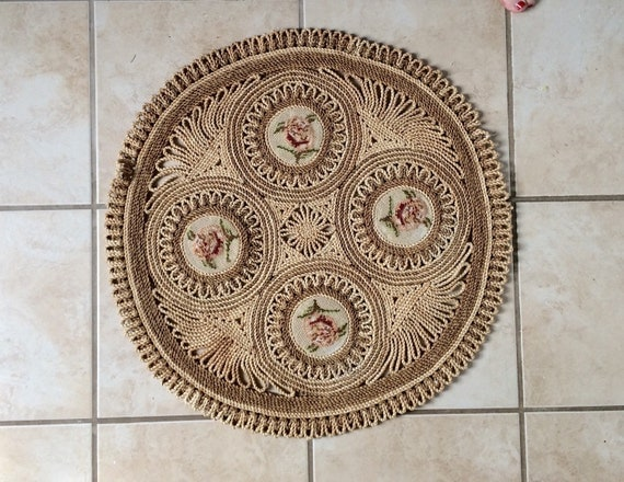 Vintage Rattan Rug Small Round Rug Entry Way Rug