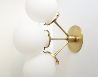 Rose • solid brass triple satin white glass globe light • UL LISTED