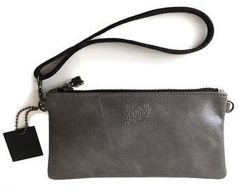 Small Leather Pouch / Evening Bag / Wristlet / Shoulder Bag / iPhone Sleeve