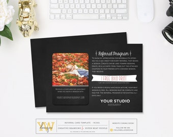 Referral Card with Coupons - Photography Marketing - Chalkboard Style - INSTANT DOWNLOAD - RC001