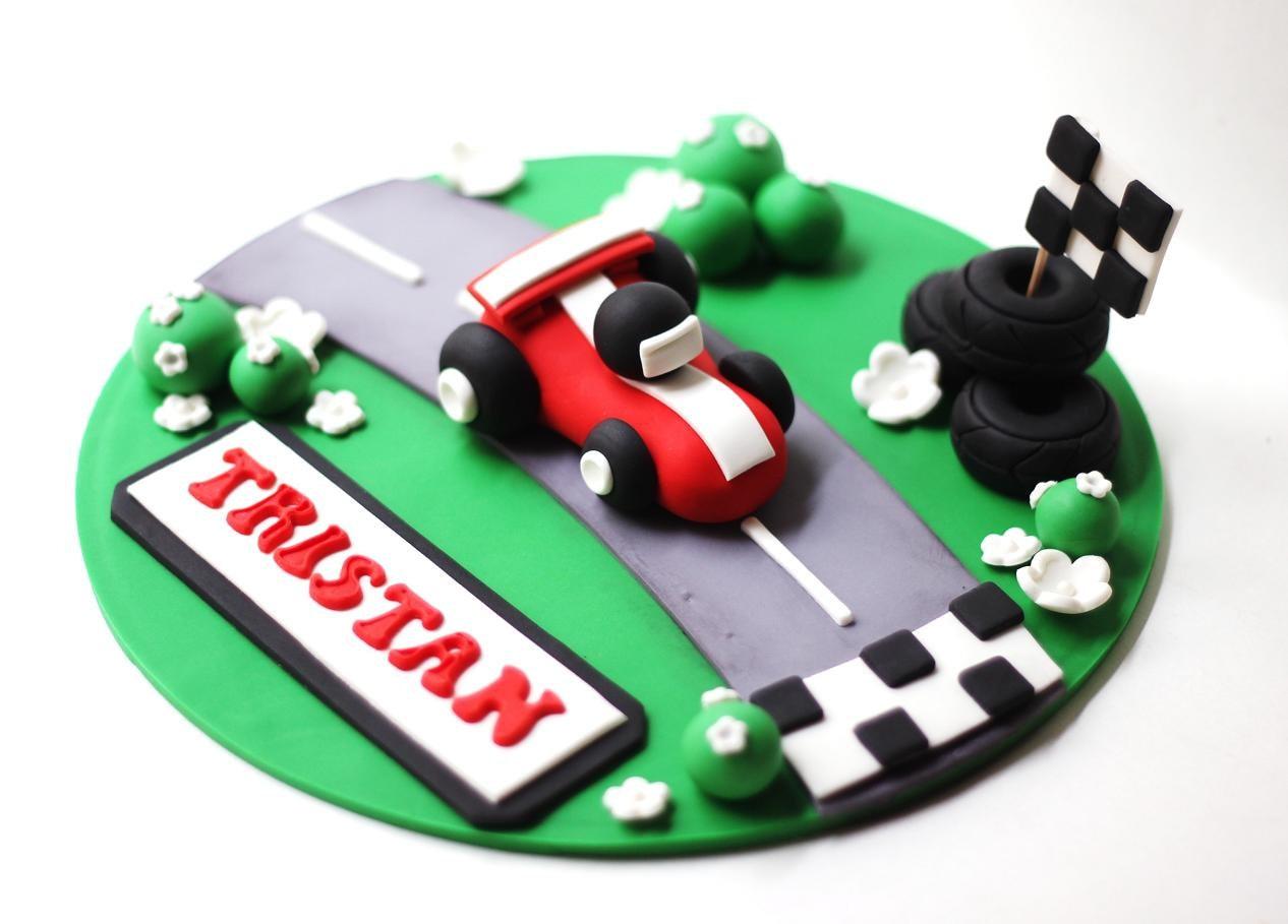 Cake with fondant cars prezup for fondant race car cake topper set transportation cars trucks baditri Choice Image