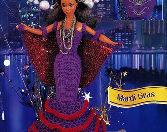 Mardi Gras  Crochet Pattern Annies Fashion Doll Crochet Club FCC10-01