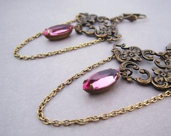 Chandelier Earrings - Victorian Jewelry -  Pink Magenta - Art Nouveau Charm