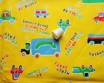 trucks juvenile novelty print vintage cotton fabric -- 44 wide by 1 yard
