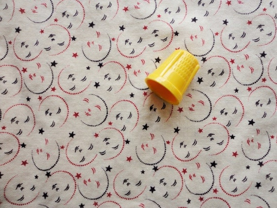 smiling moons antique conversationals cotton fabric -- 45 wide by one yard