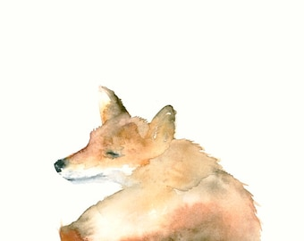 Smiling Fox Original Watercolor Painting
