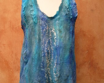 Watercolor Blues nuno felt top