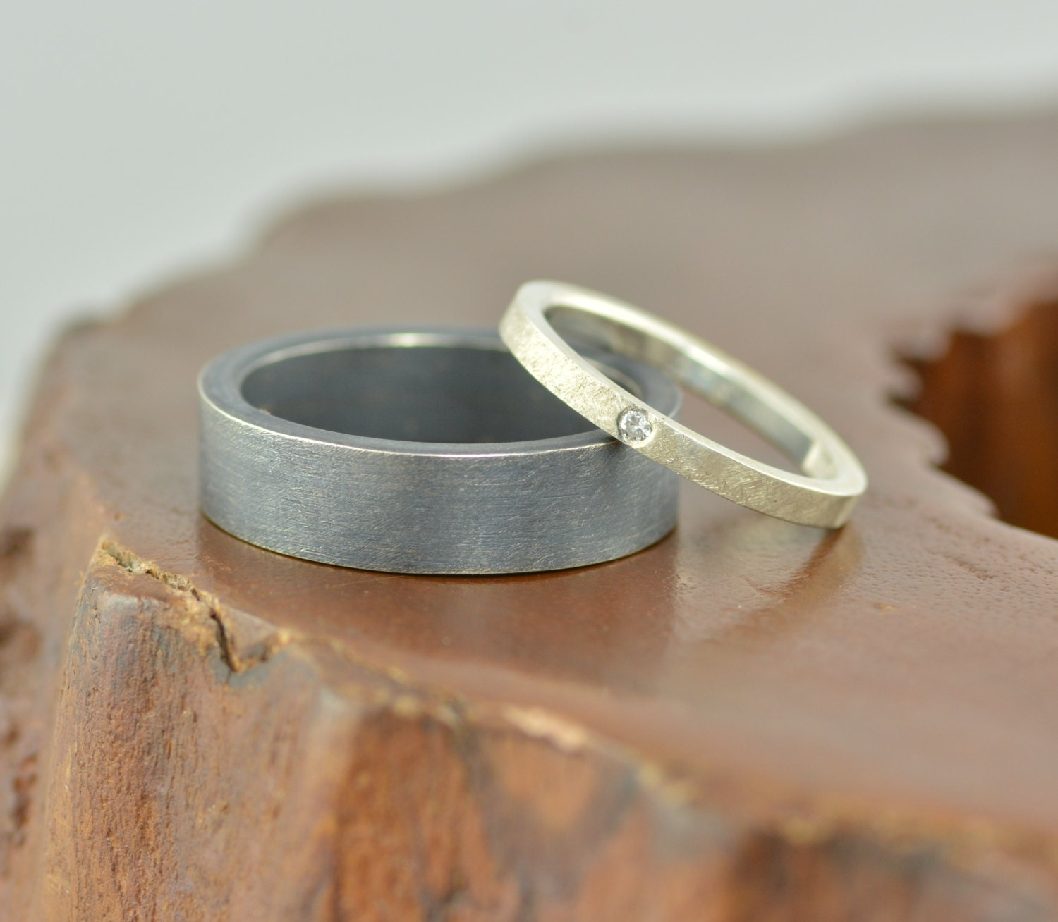 Recycled Sterling Silver Wedding Ring Set By PointNoPointStudio