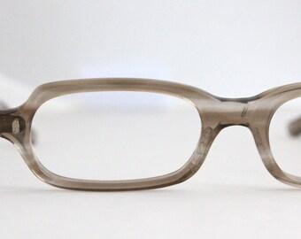 Vintage 60's Smokey Taupe Minimalist Cat Eyeglasses Frames