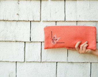 Gift for Mom from Daughter, Coral Clutch Purse, Unique Womens Gift, Vintage Linen Embroidered Clutch Bag, Large Zipper Pouch