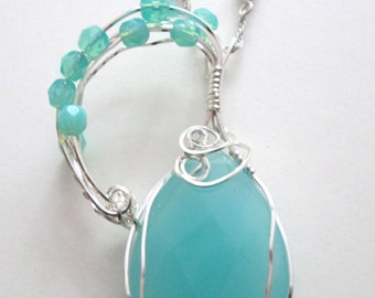 Wire Wrapped Seafoam Czech Crystal Pendant/Necklace
