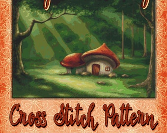 Fairy Tale Cottage Cross Stitch Pattern Cute Fantasy Fairy Pixie Design Instant Download PdF Pattern