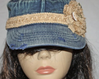Blue Denim Vintage Style Military Cadet Cap with Burlap Band and Flower