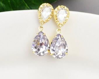 Swarovski Earrings - Purple Earrings - Crystal Teardrop Earrings Gold - Lavender Earrings - Bridesmaid Jewelry - Swarovski Jewelry