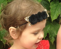 BLACK Three Rose Flower Crown Headband, Felt Bloom Garland Head Band, Can be made in ANY Colour. Grat for All Ages.